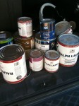 My old cans of paint from various projects in the house.