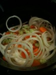 Carrots, celery and onions in the crock pot